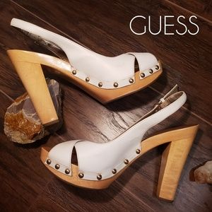 GUESS Solid Wood and Leather Platform